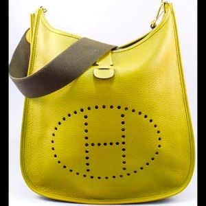 """Hermes- Green Evelyne 33 perforated """"H"""" leather."""